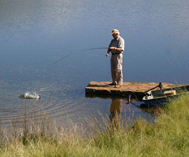 Picture by Mike Hinson. Crystal Waters Trout Fishing Underberg. Fishing from the jetty in front of the cottages.