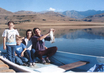 Crystal Waters Trout Fishing Underberg. Family fishing on the trout dam.