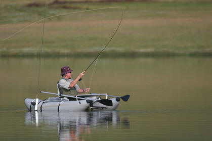 Picture by Mike Hinson. Crystal Waters Trout Fishing Underberg. Kick-boat fishing on the dam.